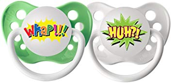 Ulubulu Expression Pacifier Set, Unisex, Huh? and Whap, 6-18 Months