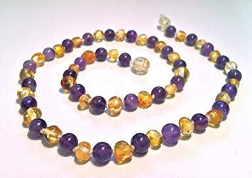 The Original Art of Cure Baltic Amber Teething Necklace - 12-12.5 Inches (AMETHYST/LEMON)