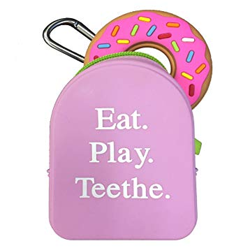 Silli Chews Grab and Go Pacifier Holder, Teether Carry Case, and Donut Teething Toy Gift Set for Baby...