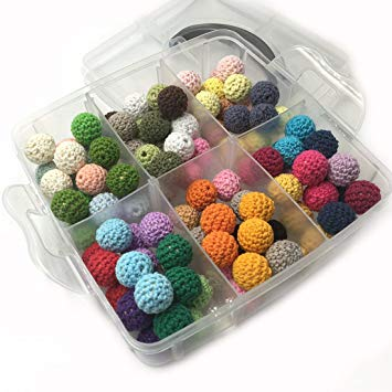 Amyster DIY Baby Teether Toys Accessories Kit 108pcs 14mm(0.55inch) Mixed Colour Crochet Beads...