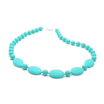 Bitey Beads Silicone Chewable Teething Nursing Necklace 32'' (Turquoise)
