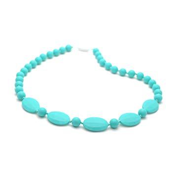 Bitey Beads Silicone Chewable Teething Nursing Necklace 32'' (Turquoise)