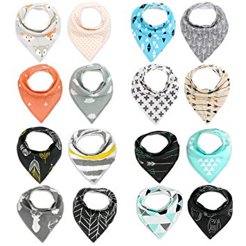 Baby Bandana Drool Bibs Baby Gift Set Unisex Baby Drool Bibs 16 Packs Super Absorbent Cotton Bibs...