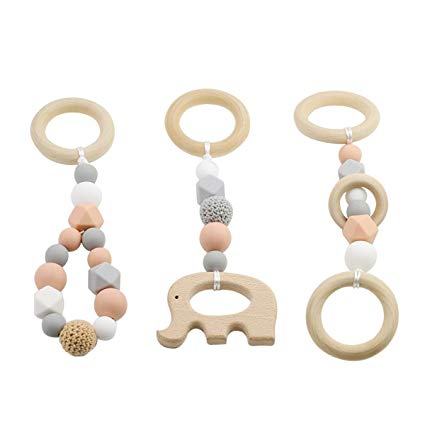 Teething Pendant by Babe Basics: Handmade Natural Wood & Silicone Teething Pendant (3 Pack: Elephant, Loop, Ring)