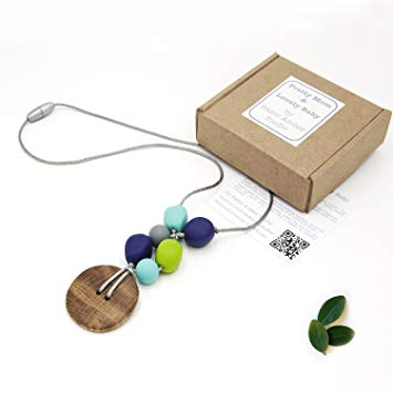 'Oak Charm' Designer Teething Necklace, Gift Box & Greeting Card; Genuine Oak Pendant and...