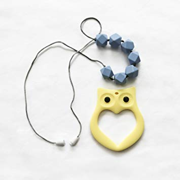 """BayBay Beads- Silicone Teething Necklace for Mom to Wear & Baby to Chew """"Powder Blue"""" with Bonus..."""