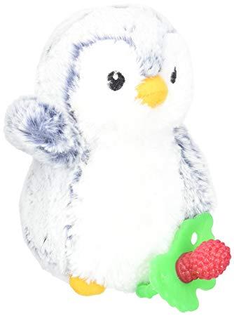 RaZbaby RaZ-Buddy Plush Teether Holder, Ethan Penguin/Grey