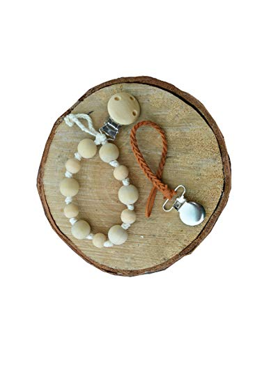 Braided leather pacifier strap clip and Natural Wooden Teething Pacifier Clip (set of 2)