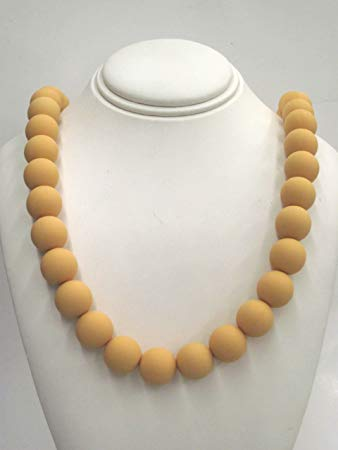 Chewable Teething Necklace for Teething Babies or Nursing Moms. Strand of 14mm Mustard Yellow Beads....