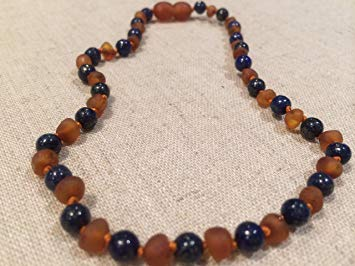 ADHD Raw Unpolished Baltic Amber Teething Necklace Babies (Cognac Brown) - Baby, Infant, and Toddlers...